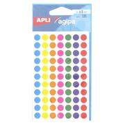 Pastille adhésive Ø 8 mm Agipa 100624 couleurs assorties - Boîte de 385