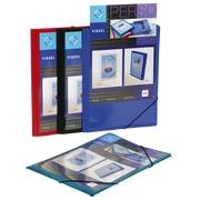 Personaliseerbare plastieken map met 3 kleppen en elastiek Viquel 24 x 32 cm rug 1,5 cm assortiment