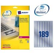 Pack 3780 äußerst starke Etikette Avery L 6008 25,4 x 10 mm metallgrau für Laserdrucker