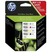 Pack of 4 cartridges HP 920XL black + colours