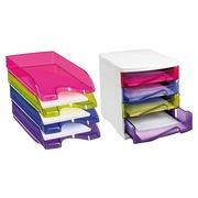 Pack 1 klasseermodule + 4 transparante postbakjes Cep in geassorteerde kleuren