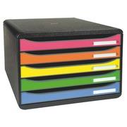 Module de classement Exacompta Big Box Plus à l'italienne coffre noir 5 tiroirs multicolores