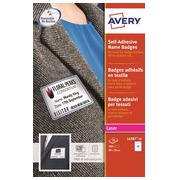 Badge laser Avery adhesive white with blue frame 50 x 80 mm - box of 200