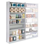 Versatile shelving basic element H 250 x W 126 x D 38 cm metal back panel single access anthracite/light grey