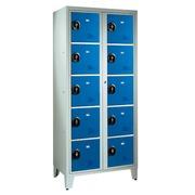 Kleerkast 2 kolommen 10 compartimenten monoblok grijs blauw