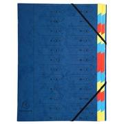 Sorteermap met vaste rug en elastosluiting - 24 indelingen - Blauw (54242E)