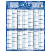 Calendrier annuel mural 2020 - 14 mois recto / blanc verso - bleu- 55 x 43 cm