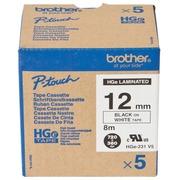 Brother HGE-231V5 - ruban laminé - 5 rouleau(x) - Rouleau (1,2 cm x 8 m)