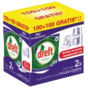 Pack vaatwastbletten Dreft original All in 1: 100 tabletten + 100 tabletten gratis