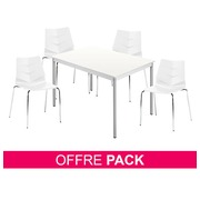 Pack Klass One blanc - 1 table rectangulaire + 4 chaises
