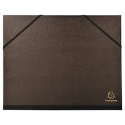 Carton à dessin kraft noir vernis avec élastiques 26x33 cm - Pour formats A4 et 24x32 cm.