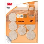 Beschermende vloerpads, uit vilt, diameter 25 mm, blister van 8 stuks