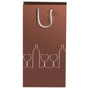 Bottle bag for 2 bottles mat bronze 38 x 18 x 9 cm - pack of 10