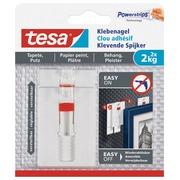 Tesa clou adhésive pour papier et plâtre, réglable, supporte 2 kg, blister de 2 pièces