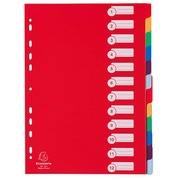 Intercalaire A4 polypropylène coloré opaque Exacompta 12 onglets neutres réinscriptibles multicolores - 1 jeu