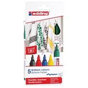 Edding feute textile 4500, set de 5 pièces en couleurs assorties basiques