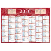 Halbjahreswandkalender 2020 - 38,5 x 54 cm - 7 Monate rot