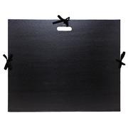 Carton à dessin kraft noir vernis avec rubans et poignée 59x72 cm - Pour format raisin