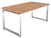 Bureau droit Shiny L 160 x P 90 cm plateau chêne clair piétement métal chromé