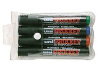 Permanent marker Uni Ball Prockey conical tip 1.8 to 2.2 mm - Pack of 4 assorted colours