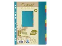 Intercalaire A4 polypropylène recyclé coloré Exacompta Forever 12 onglets neutres multicolores - 1 jeu