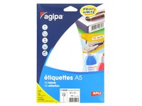 Box of 192 adhesive labels Agipa 114026 white 32 x 70 mm laser and inkjet