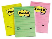 Post-it notepad, 102 x 152 mm, ruled, assorted neon colours