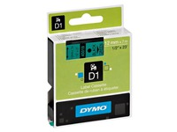 Dymo labels 12 mm black on green for Pocket/1000/2000/3500/5000/5500