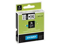 Dymo ribbon, 9 mm white or transparent black print