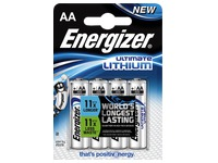 Pile AA - LR6 lithium Energizer Ultimate - Blister de 4 piles