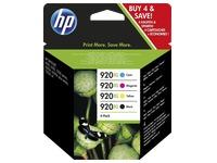 Pack van 4 cartidges HP 920XL zwart + kleur