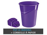 Pack corbeille à papier + multipots Cep Gloss couleur