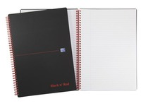 Spiral notebook Oxford Professional Black'N Red A4 21 x 29,7 cm - white lined - 140 pages