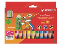 Colour pencil Stabilo Woody 3 in 1 assorted colours - Box of 10 + 1 pencil sharpener