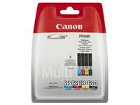 Canon CLI-551 C/M/Y/BK Photo Value Pack - 4 - zwart, geel, cyaan, magenta - origineel - inktreservoir / papierpakket
