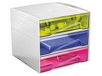 Mini Aufbewahrungsmodul in Plastik Cep My Cube 3 Schubladen vielfarbig