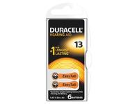 Blister van 6 batterijen Duracell voor hoorapparaat type 13