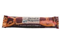 4 vierkante koekjes met melkchocolade en karamel Michel en Augustin - doos van 18 zakjes
