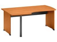 Bureau compact Quarta Plus retour gauche L 160 cm aulne piétement plein bois