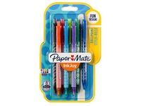 Balpen Papermate Inkjoy 100 - inklikbaar -  gemiddelde lijn - pack van 8 geassorteerde kleuren