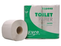 Europroducts toiletpapier, 1-laags, 400 vellen, pak van 4 rollen