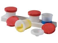 Antiknoeipot voor verf set van 4 potjes van 320 ml met rood deksel