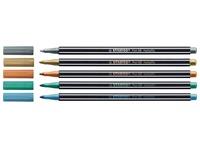 Stabilo viltstift Pen 68 Metallic, display met 60 stuks in 5 geassorteerde kleuren