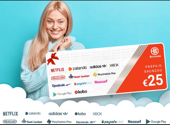 E-card €25 à partir de €99 hTVA, taxes, services et timbres